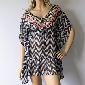 Miken NWT Chevron Print Caftan Swimsuit Cover Up